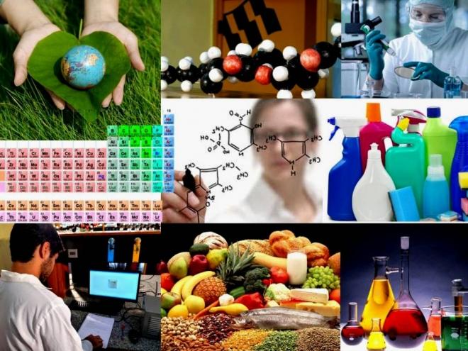 Collage de elementos de quimica